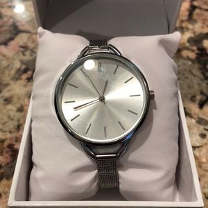 Silver Watch with Mesh Band
